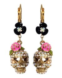 Betsey Johnson | Pink Crystal Skull And Flower Drop Earrings | Lyst