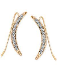T Tahari - Metallic Gold-tone Crystal Crescent Ear Climbers - Lyst