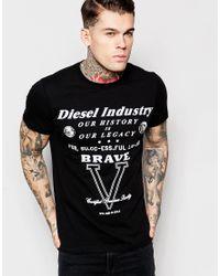 DIESEL | T-shirt Cl-t-fracas Crewneck Flock Logo Print In Black for Men | Lyst