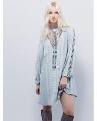 Free People - Blue Womens Melrose Printed Mini Dress - Lyst