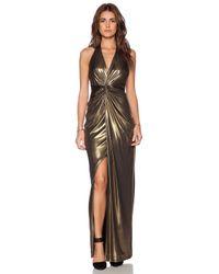 Halston - Metallic Twist Front Gown - Lyst