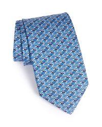 Ferragamo | Blue Mallard Duck Print Silk Tie for Men | Lyst