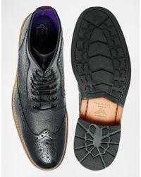 Ted Baker | Black Sealls Leather Brogue Boots for Men | Lyst