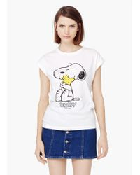 Mango - White Printed Cotton T-shirt - Lyst