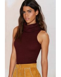 Nasty Gal - Purple Glamorous Neck To Neck Crop Turtleneck - Burgundy - Lyst