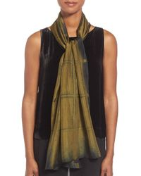 Eileen Fisher | Green Windowpane Shibori Silk Scarf | Lyst