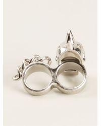 Alexander McQueen | Metallic Double Finger Ring | Lyst