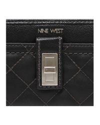 Nine West - Black Flip Lock Zip Around Wallet - Lyst