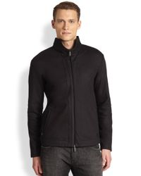 Emporio Armani | Blue Wool Cashmere Split Neck Sweater for Men | Lyst