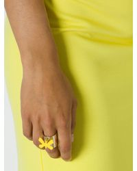 Patrizia Pepe | Yellow Costume Jewellery Ring With Fly Pendant | Lyst