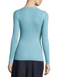 Elie Tahari | Blue Remmi Long-sleeve Ribbed Sweater | Lyst