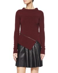 Belstaff - Purple Mock-neck Angled Zip Sweater - Lyst