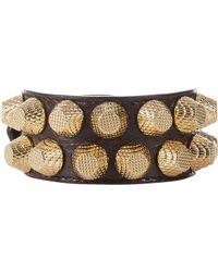 Balenciaga - Black Arena Leather Giant Bracelet - Lyst