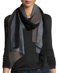 Neiman Marcus | Gray Cashmere Tricolor Scarf | Lyst