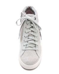 DKNY - Gray Cindy Perforated Wedge Sneakers - Grey - Lyst