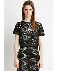 Forever 21 | Black Boxy Crochet Lace Top | Lyst
