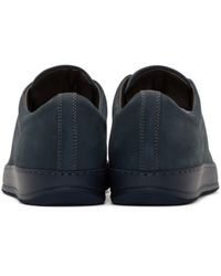 Lanvin - Blue Navy Nubuck Low-top Sneakers for Men - Lyst