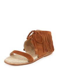 Paul Andrew - Brown Shantou Fringed-Suede Sandals  - Lyst