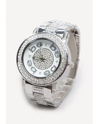 Bebe | Metallic Logo Embellished Link Watch | Lyst