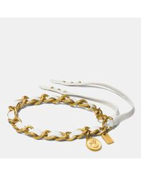 COACH | Metallic Slim Leather Laced Cameo Bracelet | Lyst