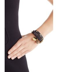 Alexander McQueen | Wrap-around Leather Bracelet - Black | Lyst