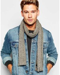 ASOS - Gray Cable Scarf In Grey Nepp for Men - Lyst