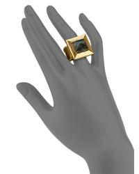 Stephanie Kantis | Black Flapper Labradorite Square Cocktail Ring | Lyst