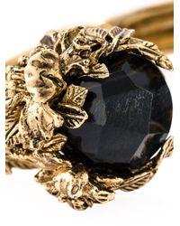 Roberto Cavalli | Black Swarovski Crystal Floral Cuff | Lyst