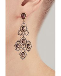 Alexis Bittar - Metallic Crystal Studded Gold-Plated Lace Chandelier Earring - Lyst