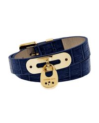 MICHAEL Michael Kors | Blue Double-wrap Leather Padlock Bracelet | Lyst