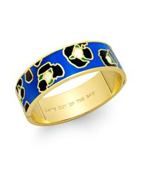 kate spade new york - Blue New York Goldtone Multicolor Cats Out Of The Bag Hinged Bangle Bracelet - Lyst