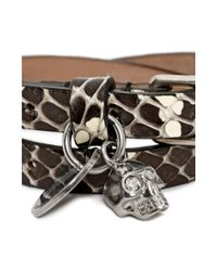 Alexander McQueen | White Leather Double Wrap Skull Bracelet | Lyst