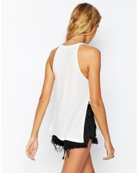 ASOS | White Petite Longline Top In Rib With Side Splits | Lyst