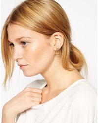 ASOS - Metallic Triangle Stone Open Earrings - Lyst