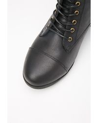 Forever 21 - Black Plus Size Lace-up Faux Leather Boots (wide) - Lyst