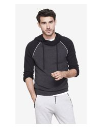 Express | Gray Baseball Crossover Collar Hooded Sweater for Men | Lyst