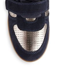 Ash - Blue Bea Suede Perforated Leather Wedge Sneakers - Lyst