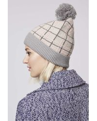 TOPSHOP | Gray Check Beanie | Lyst