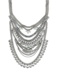 BCBGeneration | Metallic Rhodium-Tone Drama Multi-Chain Frontal Necklace | Lyst