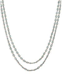 Lucky Brand | Metallic Goldtone And Turquoise Double Layer Strand Necklace | Lyst
