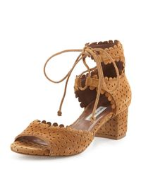 Tabitha Simmons - Brown Tallulah Eyelet Suede Sandals - Lyst
