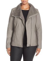 T Tahari | Gray Drape Collar Featherweight Leather Jacket | Lyst