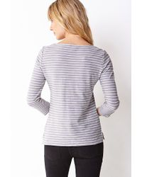 Forever 21 - Gray Essential Striped 3/4 Sleeve Top - Lyst