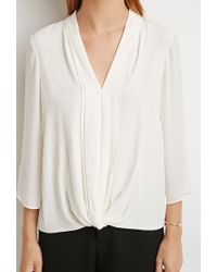 Forever 21 - Natural Contemporary Twist-front Crepe Top - Lyst