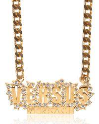 Versus | Metallic Chain & Rhinestone Logo Necklace | Lyst