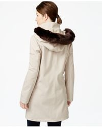 Ivanka Trump | Natural Faux-fur-trim Softshell Walker Coat | Lyst
