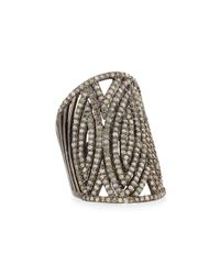 Bavna - Metallic Silver Diamond Statement Ring for Men - Lyst