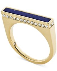 Michael Kors | Gold-Tone Lapis Blue Bar Ring | Lyst