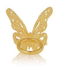 Alexander McQueen - Metallic Goldtone Swarovski Crystal Butterfly Ring - Lyst