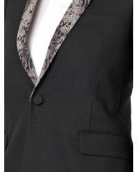 Saint Laurent - Black Python-Print-Collar Wool Blazer - Lyst